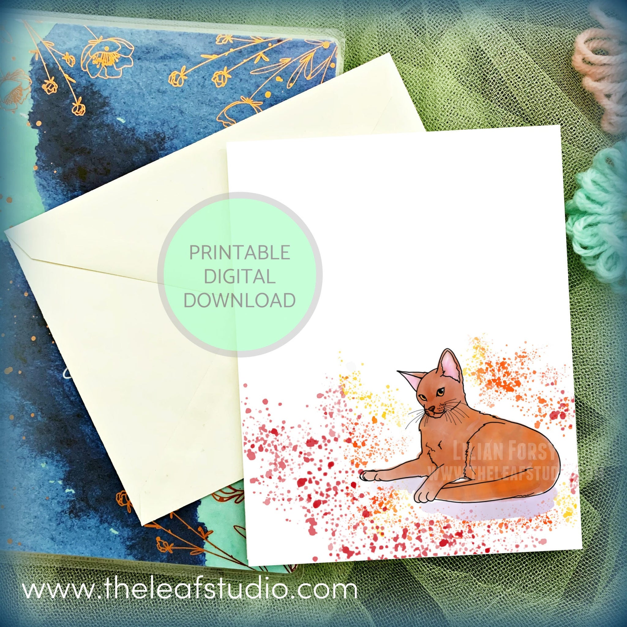 Printable Abyssinian Cat Greeting Card (Digital Instant Download) by The Leaf Studio - 4.25 x 5.5 Frameable Art