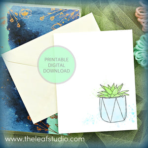 Printable Potted Succulent Greeting Card (Digital Instant Download) by The Leaf Studio - 4.25 x 5.5 Frameable Art