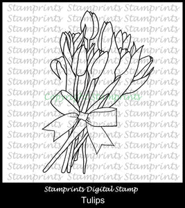 Tulips Bouquet (TLS-1948) Digital Stamp. Printable. Coloring