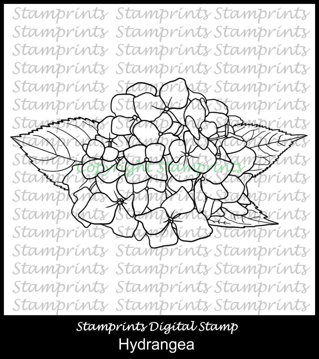 Hydrangea Digital Stamp Stamprints (TLS-1950) Cardmaking.MixedMedia.
