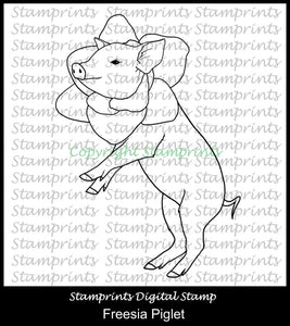 Freesia Piglet Digital Stamp by Stamprints (TLS-1951). Cardmaking.Scrapbook. Mixed Media
