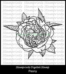 Peony Digital Stamp by Stamprints (TLS-1953) Cardmaking.MixedMedia.
