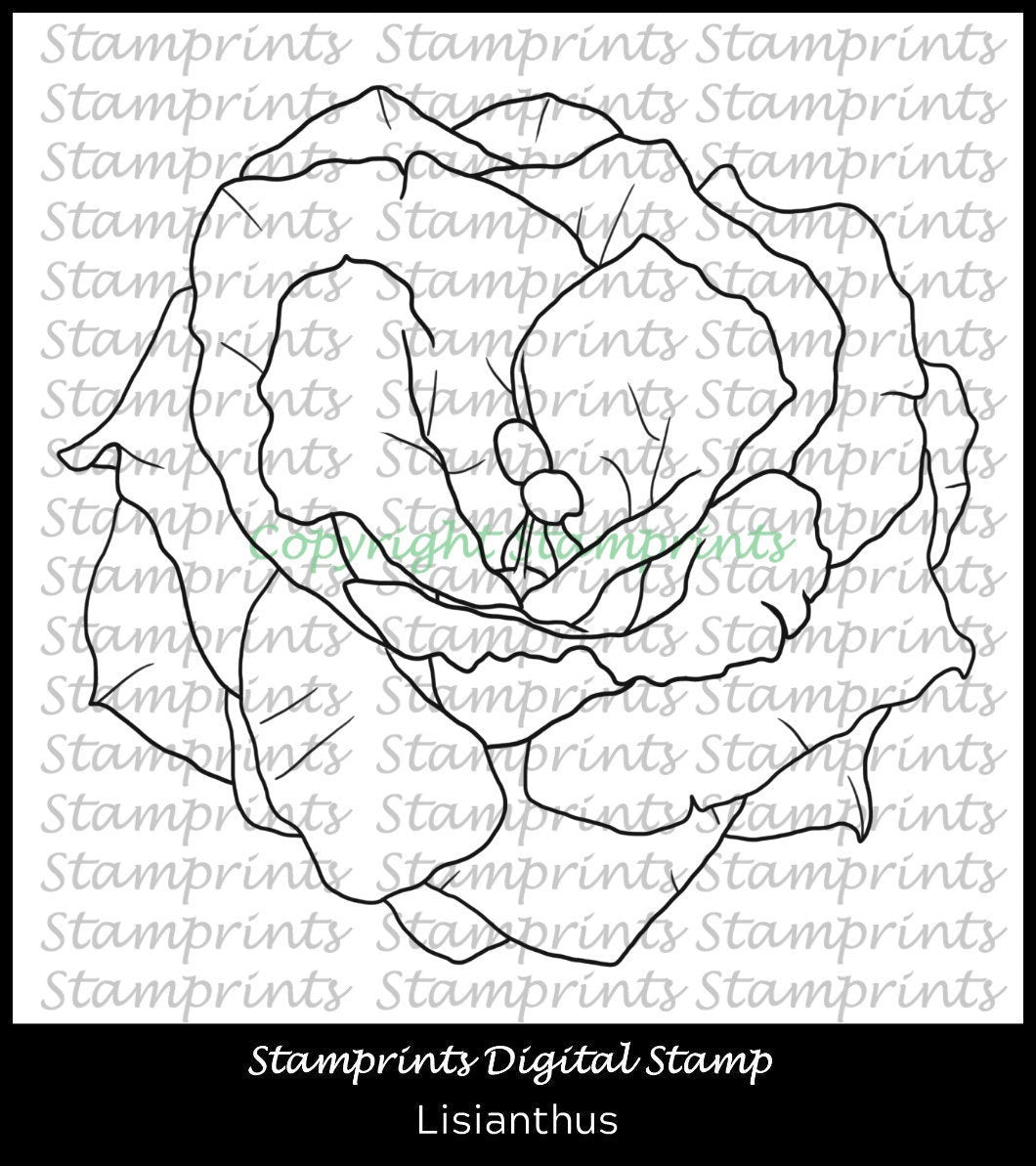 Lisianthus Flower Digital Stamp by Stamprints (TLS-2001) Cardmaking.MixedMedia.