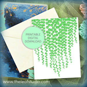 Printable String of Pearls Greeting Card (Digital Instant Download) by The Leaf Studio - 4.25 x 5.5 Frameable Art Digital Painting Print