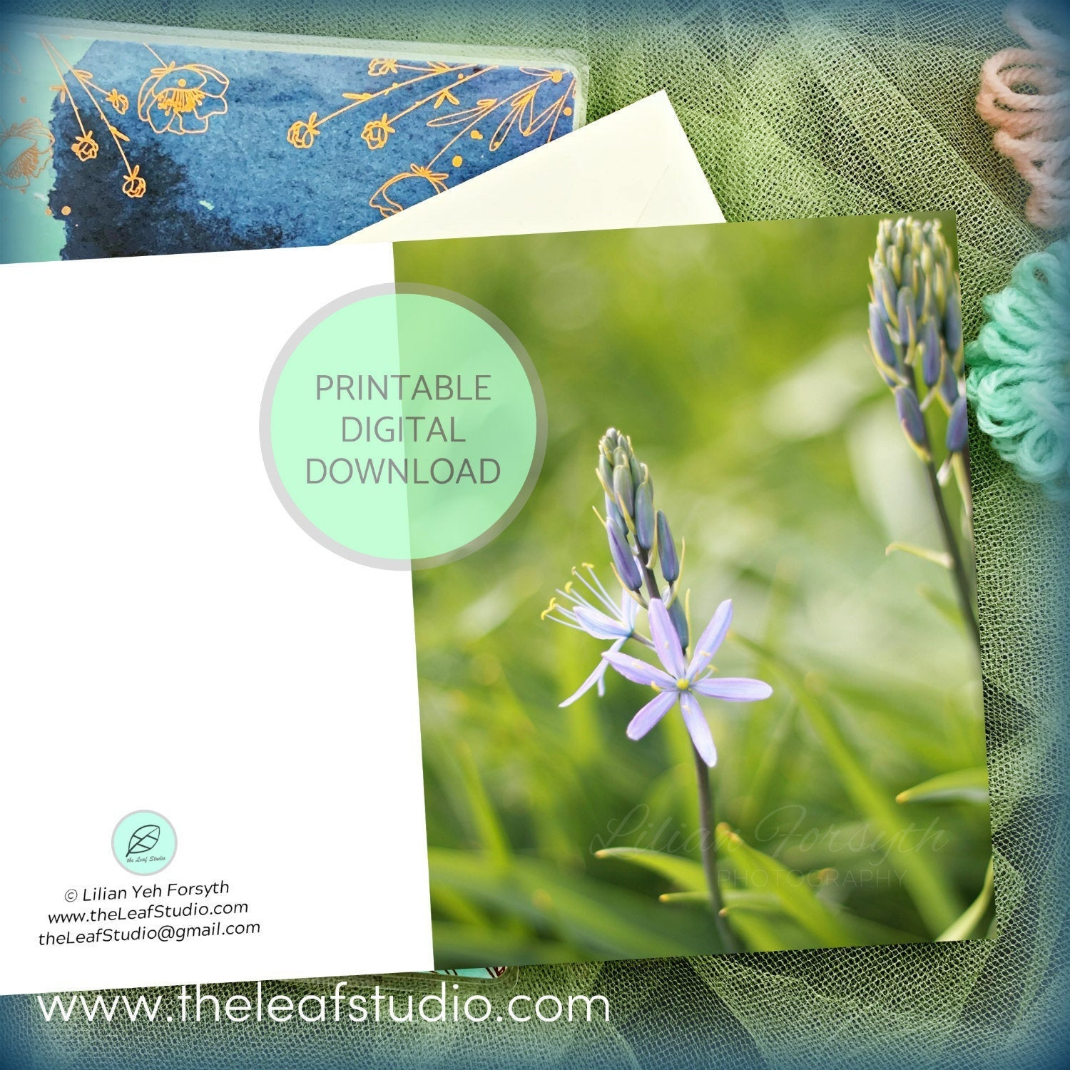 Printable Peace in Petals Flower Photography Greeting Card (Digital Instant Download) by The Leaf Studio - 4.25 x 5.5 Frameable Art