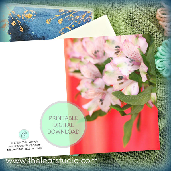 Printable Bouquet Flower Photography Greeting Card (Digital Instant Download) by The Leaf Studio - 4.25 x 5.5 Frameable Art