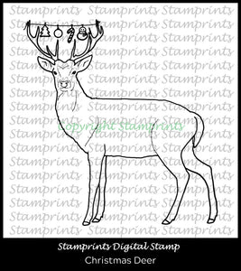 Christmas in July - Christmas Deer (TLS-2003) Digital Stamp by Stamprints.Coloring Page. Cardmaking.Scrapbooking.MixedMedia.