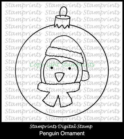 Christmas in July - Penguin Ornament (TLS-1833) Stamprints Digital Stamp. Printable. Coloring. Cardmaking. Scrapbooking. MixedMedia.