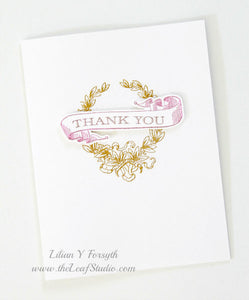Set Of 4 Thank You Cards (Blank Inside) by The Leaf Studio. Made To Order.