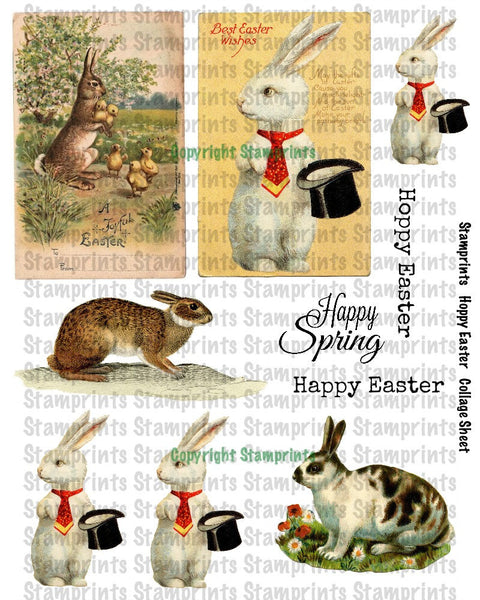Digital Collage Sheet - Hoppy Easter CS-03 (by Stamprints). Printable Vintage Images. Original Designs. Paper Crafts. Altered Art