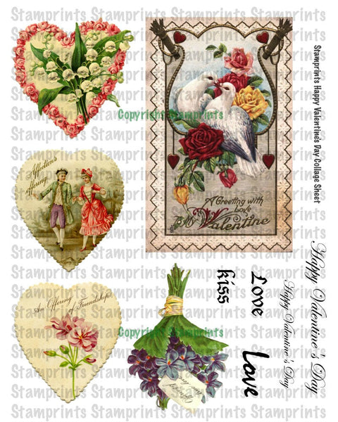 Digital Collage Sheet - Happy Valentine's Day CS-01 (by Stamprints). Printable Vintage Images. Original Designs. Crafters. Altered Art