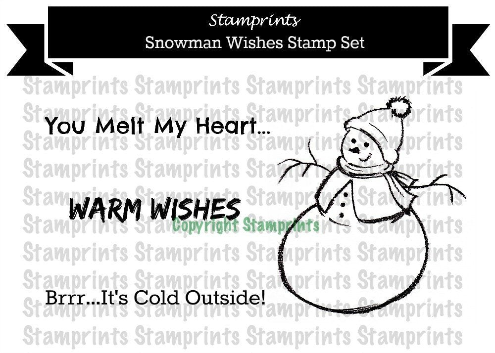 Digital Stamp Set - Snowman Wishes (by Stamprints). Printable Illustration.