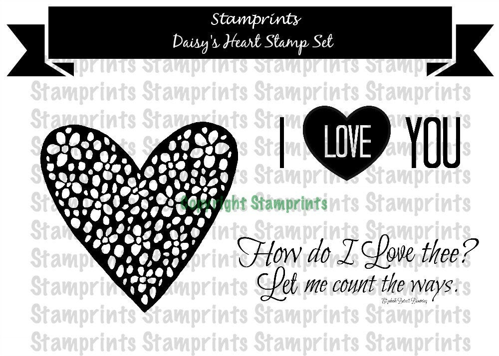 Digital Stamp Set - Daisy's Heart (by Stamprints)
