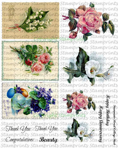 Digital Collage Sheet - Floral CS-05 (by Stamprints). Printable Vintage Images. Original Designs. Paper Crafts. Altered Art. Mixed Media