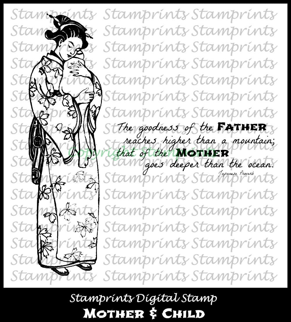 Digital Stamp Set - Mother & Child  (by Stamprints).Printable Vintage Images.