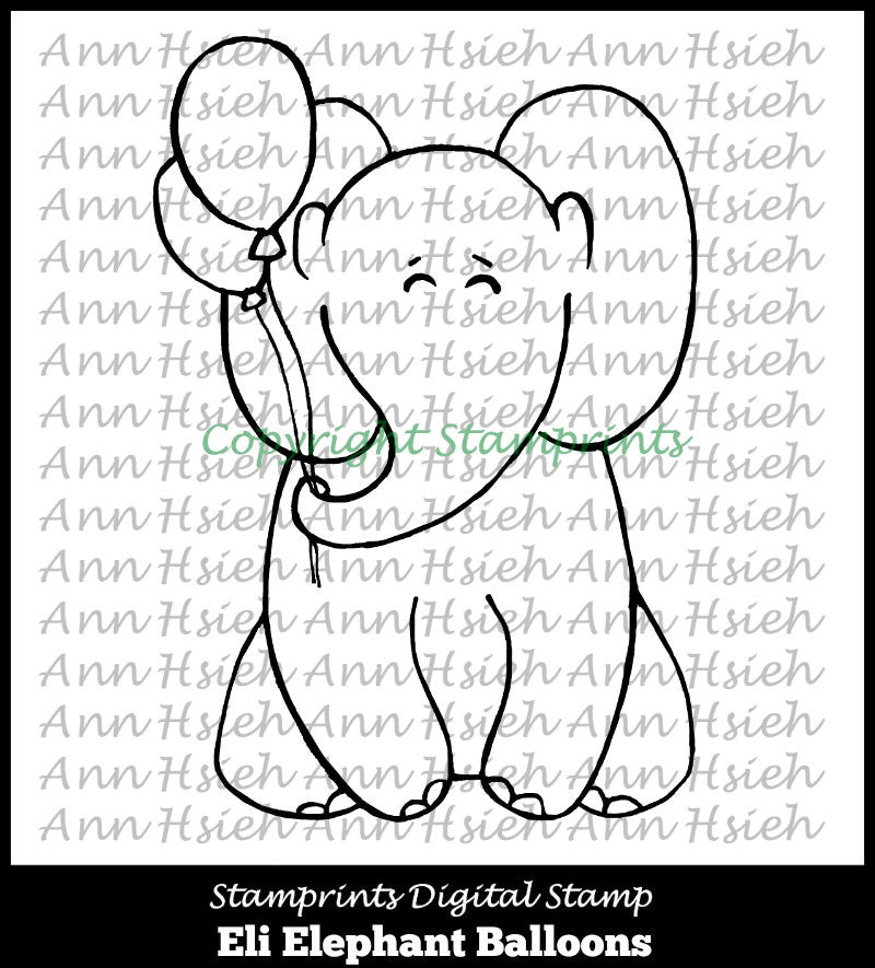 Digital Stamp - Eli Elephant Ballons AHS-161 (by Ann H for Stamprints). Printable.