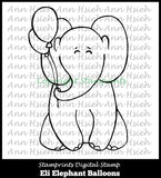 Digital Stamp - Eli Elephant Ballons AHS-161 (by Ann H for Stamprints). Printable. Coloring. Hand-Drawn Illustration. Children. Wall Decor