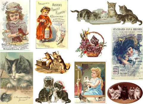 Collage Sheet Victorian Cats