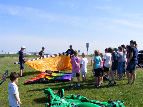 Great canadian Kite Company doing a kite demonstration for a youth camp