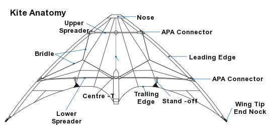 Glossary of kite terms great canadian kite company diagram of a stunt kite ccuart Image collections