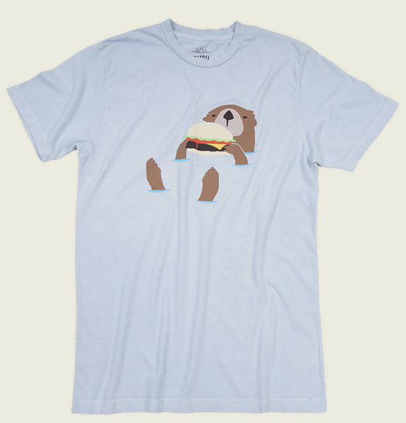 Men T-shirt by Altru Apparel with Floating Otter  Eating Burger on Light Blue Graphic Tee Shirt Showing Wrinkled Tshirt Front - Tees.ca