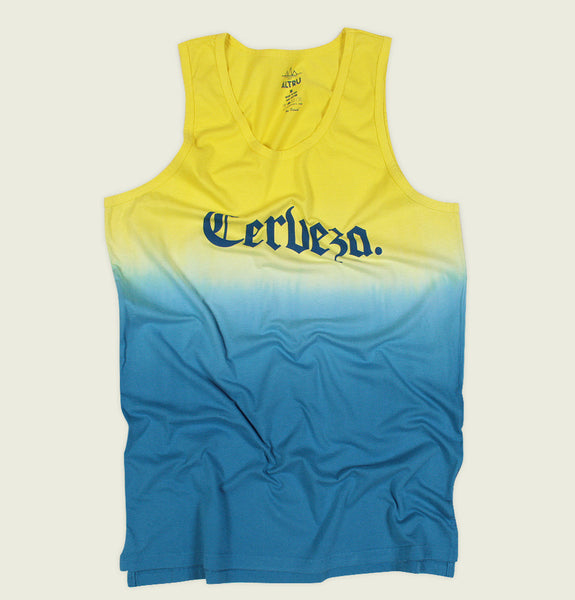 Tank Top by Altru Apparel in Yellow Blue Dip Dye Effect with Screen Printed Word Cherveza or Beer in Blue Showing Wrinkled Tank - Tees.ca