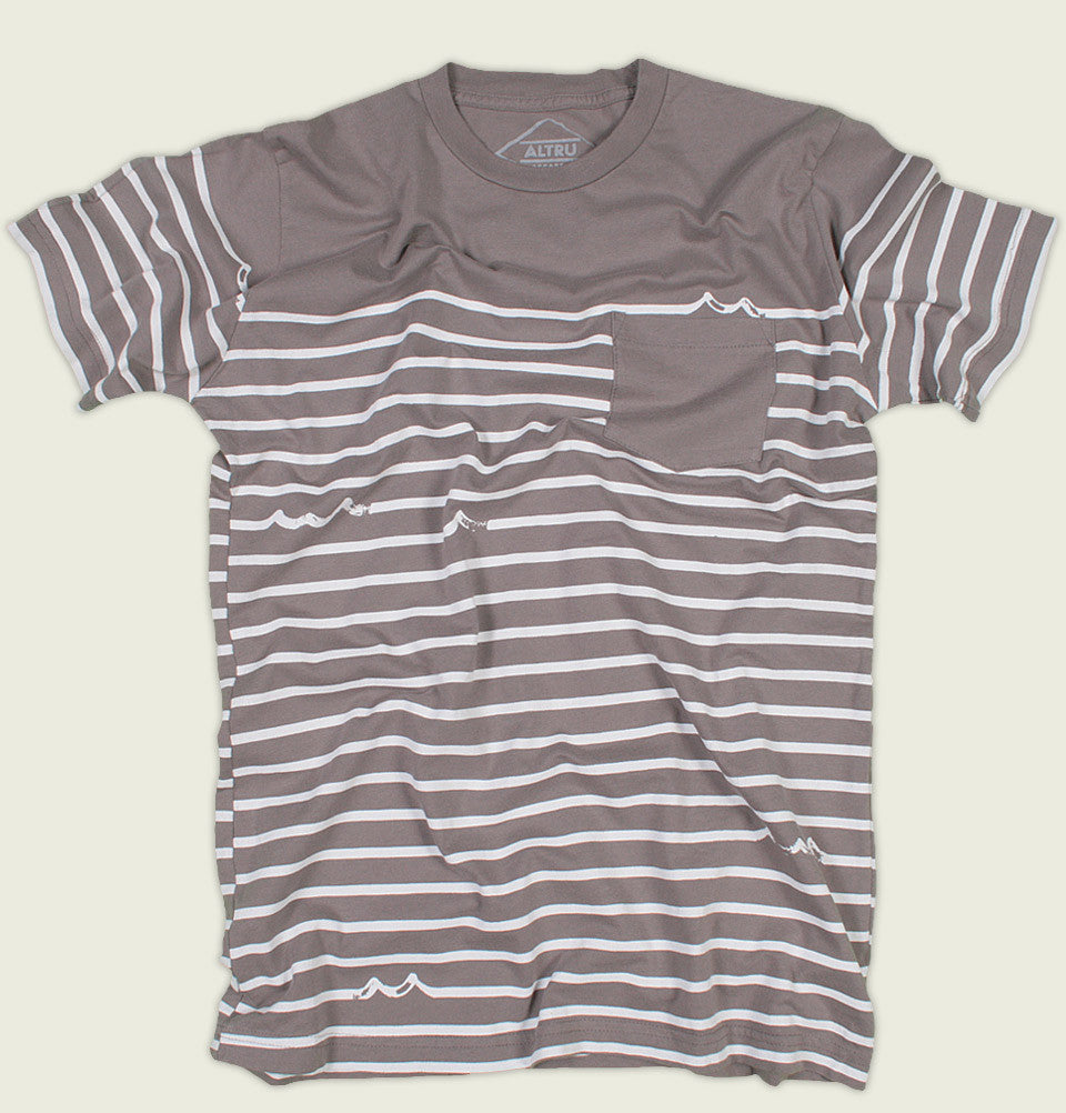 Men T-shirt Altru Apparel with White Stripes Screen Printed on Grayish Brown Cotton Unisex Graphic Tee Shirt With Pocket Showing Wrinkled Tshirt - Tees.ca