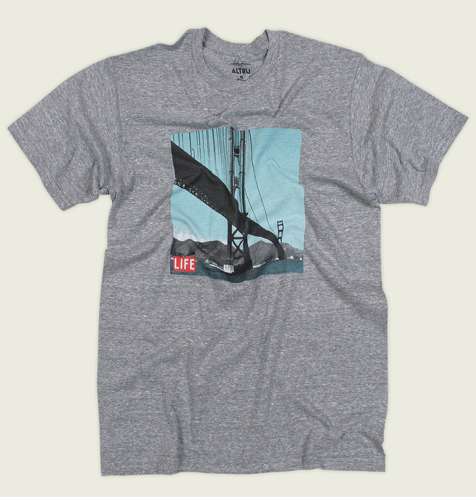 Men T-shirt by Altru Apparel Life Magazine Photo Golden Gate New York Bridge Printed on Grey Unisex Graphic Tee Shirt Showing Wrinkled Tshirt - Tees.ca