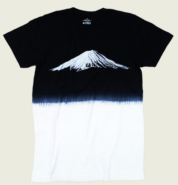 Men T-shirt with Mount Fuji Active Volcano Photo Printed on Dip Dye Black and White Cotton Graphic Tee Shirt Showing Wrinkled Tshirt Front - Tees.ca