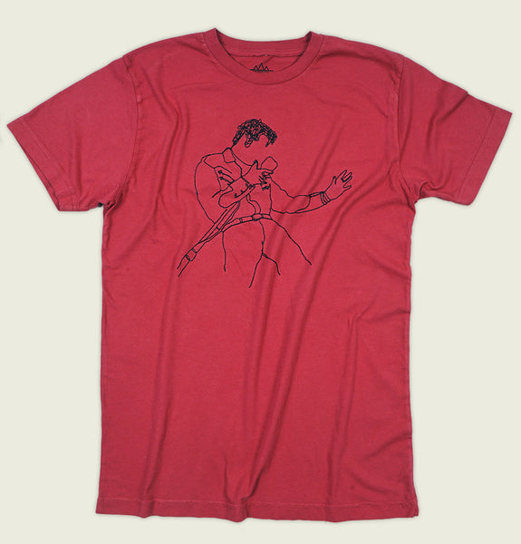 Men T-shirt by Altru Apparel with Elvis Presley Singing in Microphone Line Art Embroidered on Red Cotton Unisex Graphic Tee Shirt Showing Wrinkled Tshirt Front - Tees.ca
