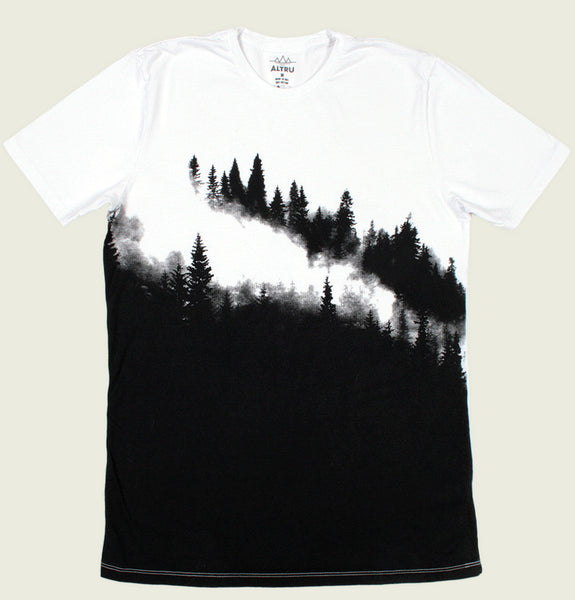 Men T-shirt by with Mountain Covered With Pine Trees on Front and Back on White Cotton Unisex Graphic Tee Shirt Showing Flat Tshirt Front - Tees.ca