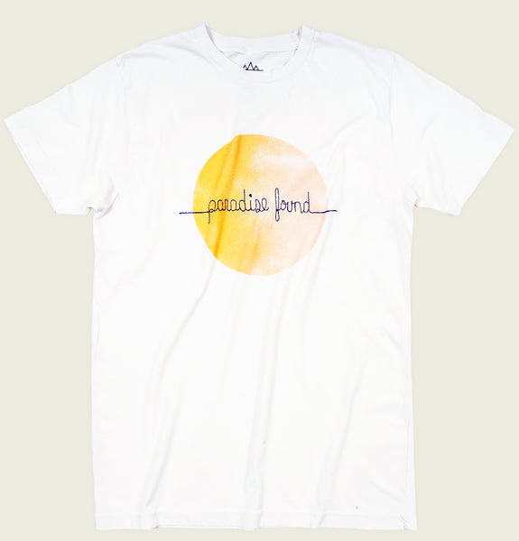 Men T-shirt by Altru Apparel with Orange Sun and Paradise Found Embroidered Across on White Graphic Tee Shirt Showing Wrinkled Tshirt Front - Tees.ca
