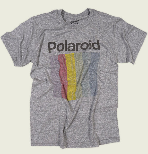 Men T-shirt by Altru Apparel with Polaroid Word and Rainbow Bars Underneath on Gray Unisex Graphic Tee Shirt Showing Wrinkled Tshirt Front - Tees.ca