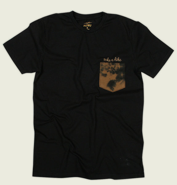 Men T-shirt by Altru Apparel with Dip Dye Pocket and Take a Hike Embroidered on Black Unisex Tee Shirt Showing Wrinkled Tshirt Front - Tees.ca