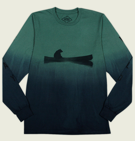 Men Long Sleeve T-shirt by Altru Apparel with Bear Rowing in Boat Printed on Dip Dye Green Blue Graphic Tee Shirt Showing Flat Tshirt Front - Tees.ca