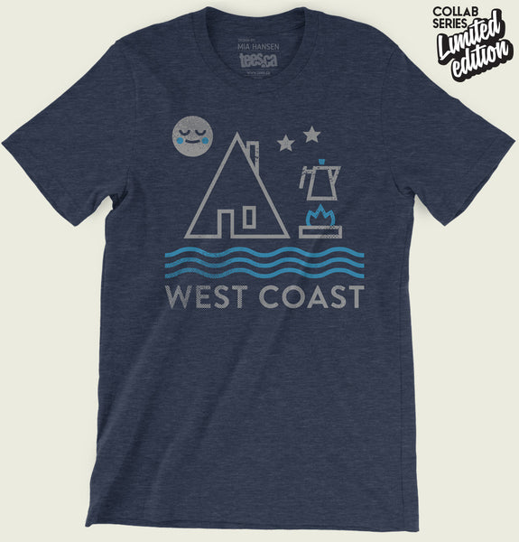 Men T-shirt With Simplified Drawing of Tent, Moon, Coffee Pot and Ocean on Navy Triblend Unisex Graphic Tee Shirt Showing Wrinkled Tshirt - Tees.ca