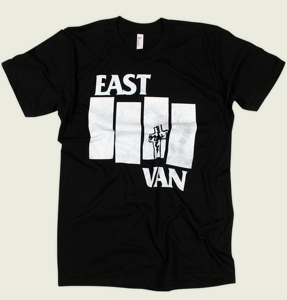 Men T-shirt by East Van Supply With Black Flag Logo Made into East Van Screen Printed on Black Unisex Graphic Tee Shirt Showing Wrinkled Tshirt - Tees.ca