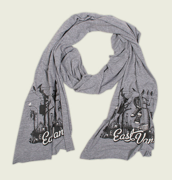Scarf with Screen Printed East Vancouver White Text and Cityscape in Black on Heather Grey American Apparel Tri blend Scarf Showing Wrinkled Item - Tees.ca