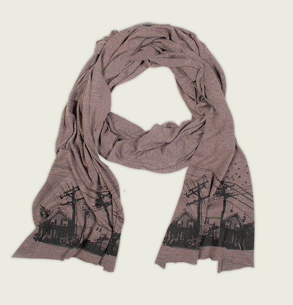 Scarf with Screen Printed East Vancouver Cityscape in Black on Brown American Apparel Tri blend Scarf Showing Wrinkled Item - Tees.ca