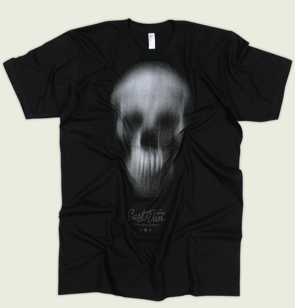 Men T-shirt with Small Text East Van Under the Skull Ghostly Design Screen Printed on Black Unisex Tee Showing Wrinkled Shirt - Tees.ca