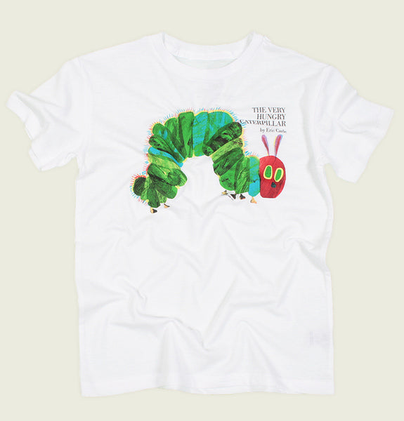T-shirt THE VERY HUNGRY CATERPILLAR by Eric Carle White Kid's Graphic Tee Showing Caterpilla Illustration with Green Body and Red Head Wrinkled - Tees.ca