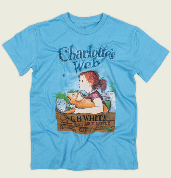 Charlotte's Web by E. B. White kid's graphic tee in blue - Tees.ca