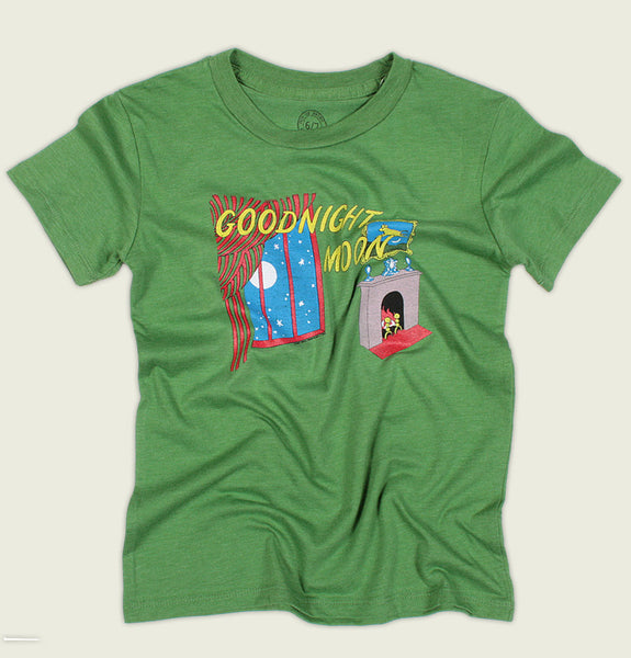 Green T-shirt GOODNIGHT MOON by Margaret Wise Brown Kid's Graphic Tee Wrinkled - Tees.ca