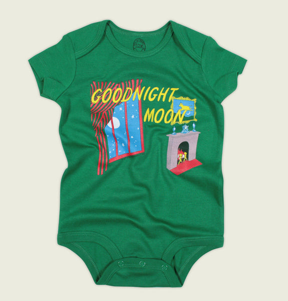 Goodnight Moon by Margaret Wise Brown baby onesie in green - Tees.ca