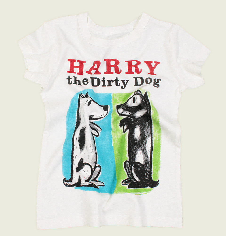 White Kid's T-shirt HARRY THE DIRTY DOG by Gene Zion Graphic Tee Wrinkled - Tees.ca