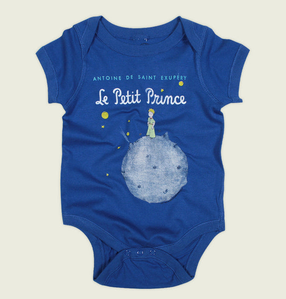 Onesie by Out of Print With Boy Standing on Small Planet Surrounded by Stars and Planets on Royal Blue One Piece for Baby Showing Wrinkled Front - Tees.ca