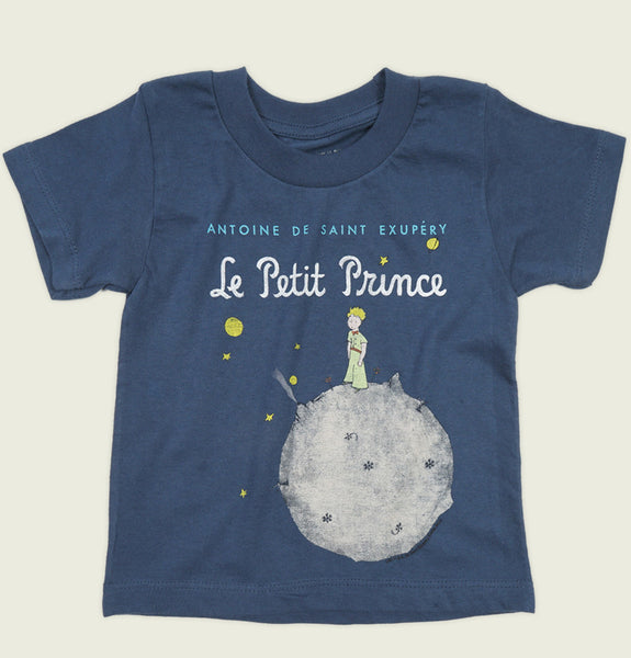 Blue Kid's T-shirt LITTLE PRINCE by Antoine de Saint-Exupéry Graphic Tee Wrinkled - Tees.ca