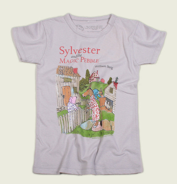 T-shirt SYLVESTER AND THE MAGIC PEBBLE by William Steig Grey Kid's Graphic Tee Donkey and Pig Talking Wrinkled - Tees.ca
