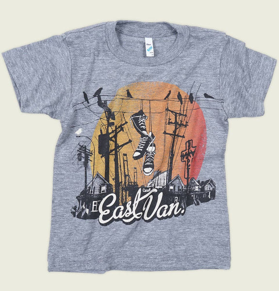 Kid's T-shirt with Text East Van and Shoes Hanging from Electrical Wire in Front or Big Orange Sun Screen on Gray Children Tee Showing Wrinkled Shirt Front - Tees.ca