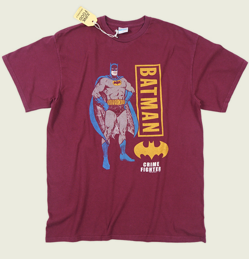 Men T-shirt by Junk Food with Batman Illustration and Wording Batman Printed on Maroon Cotton Unisex Graphic Tee Shirt Showing Wrinkled Tshirt Front - Tees.ca